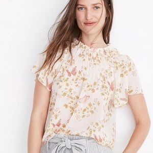 Madewell Smocked Mockneck Top-Butterfly Sanctuary